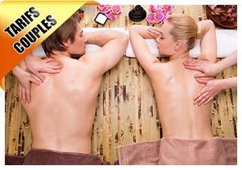Beautiful couple getting deep back massage.